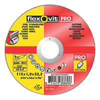 Flexovit Cutting Discs 115 x 1 x 22.23mm 5 Pack
