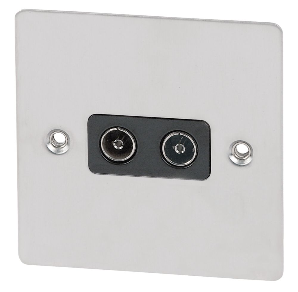 Volex Twin TV Socket Black Ins Brushed Stainless Flat Plate