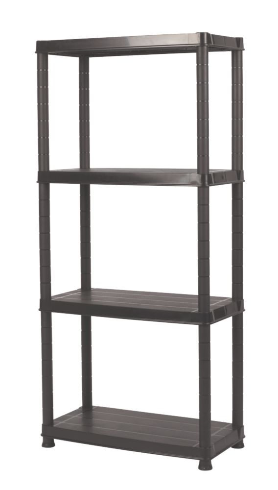 Solid Plastic Shelving with 100kg Shelf Capacity 4-Tier