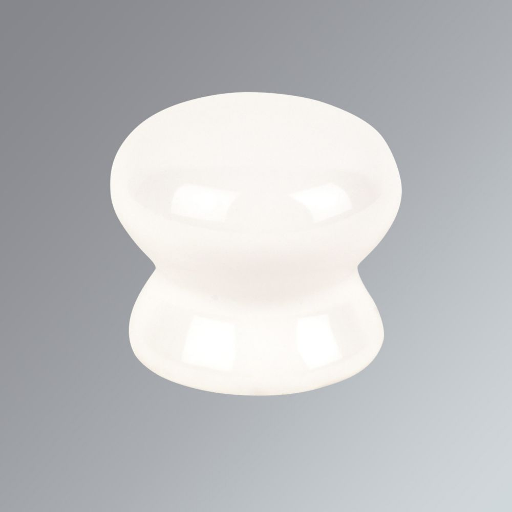 Porcelain Cabinet Door Knob White 35mm Pack of 2