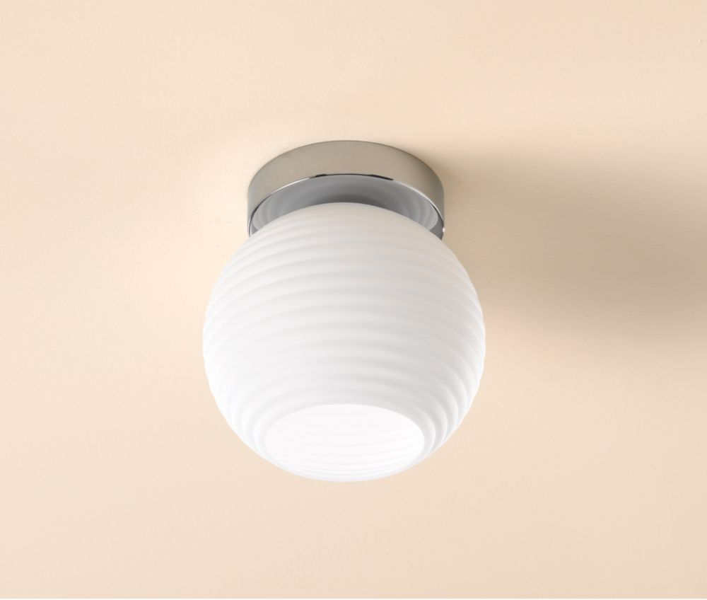 Globe White & Chrome Ceiling Light 60W