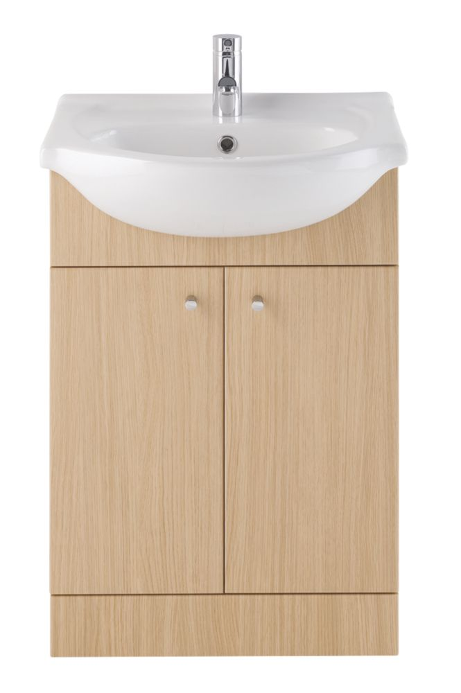 Vanity Bathroom Basin Unit Natural Oak 550mm