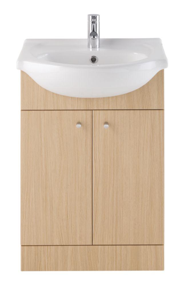 Vanity Bathroom Basin Unit Natural Oak 550mm