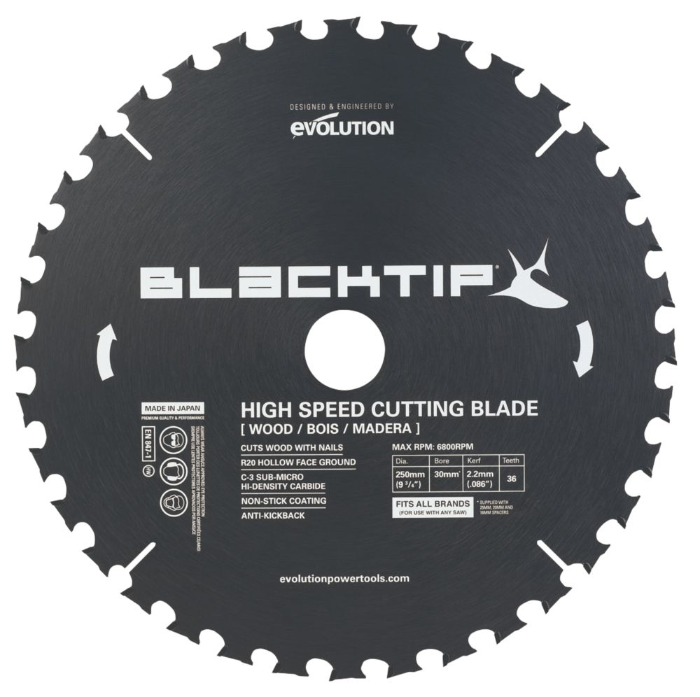Black Tip TCT Wood with Nails Blade 216mm 24T