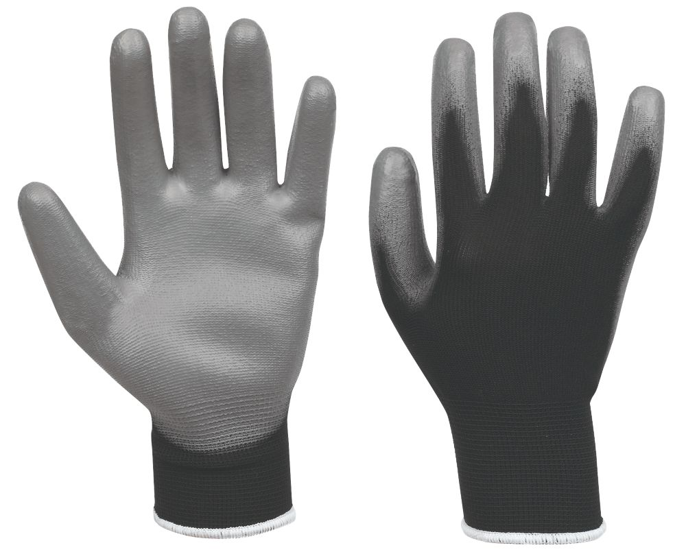 Secure Handling PU Palm Gloves Black / Grey Medium