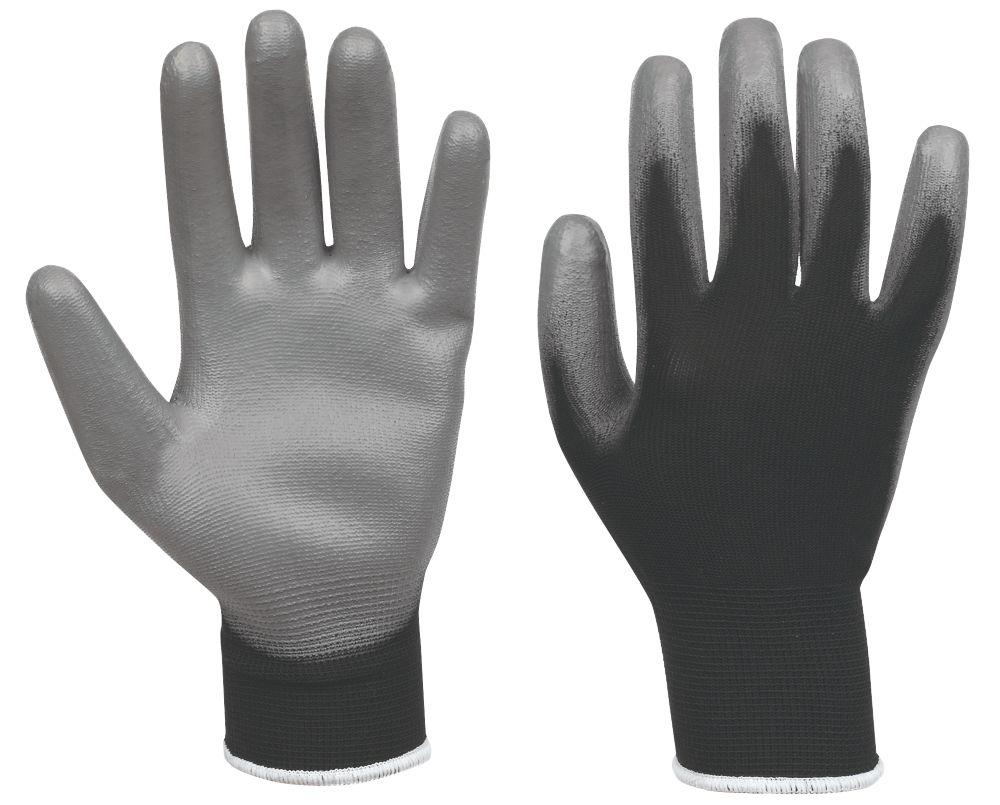 Secure Handling PU Palm Gloves Black / Grey Medium
