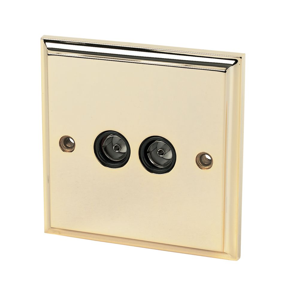 Twin TV Socket Victorian Brass