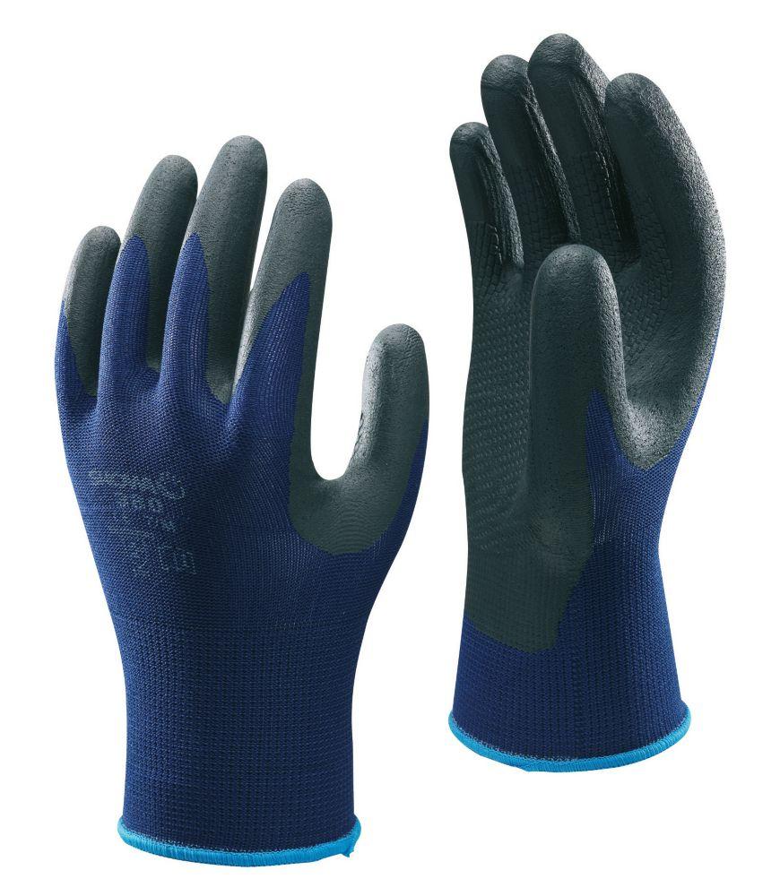Showa Best 380 Secure Handling Nitrile Foam Grip Gloves Blue Large