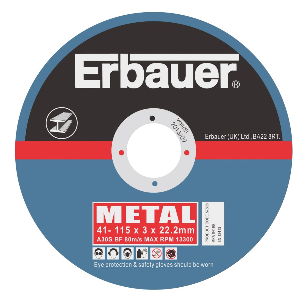 Erbauer Metal Cutting Discs 115 x 3 x 22.23mm Pack of 5