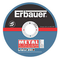 Erbauer Cutting Discs 115 x 3 x 22.23mm 5 Pack