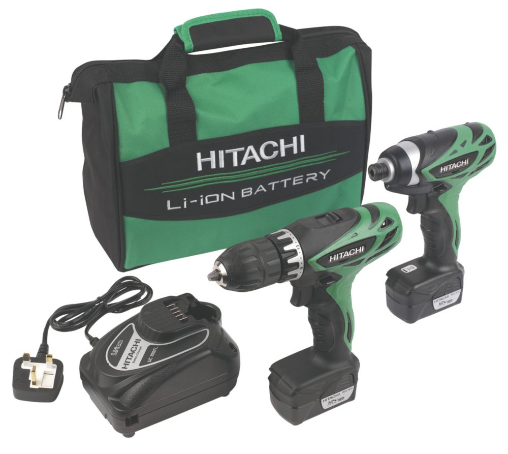 Hitachi KC10DFL 10.8V 1.5Ah Li-Ion Cordless Twin Pack Drill & Impact Driver