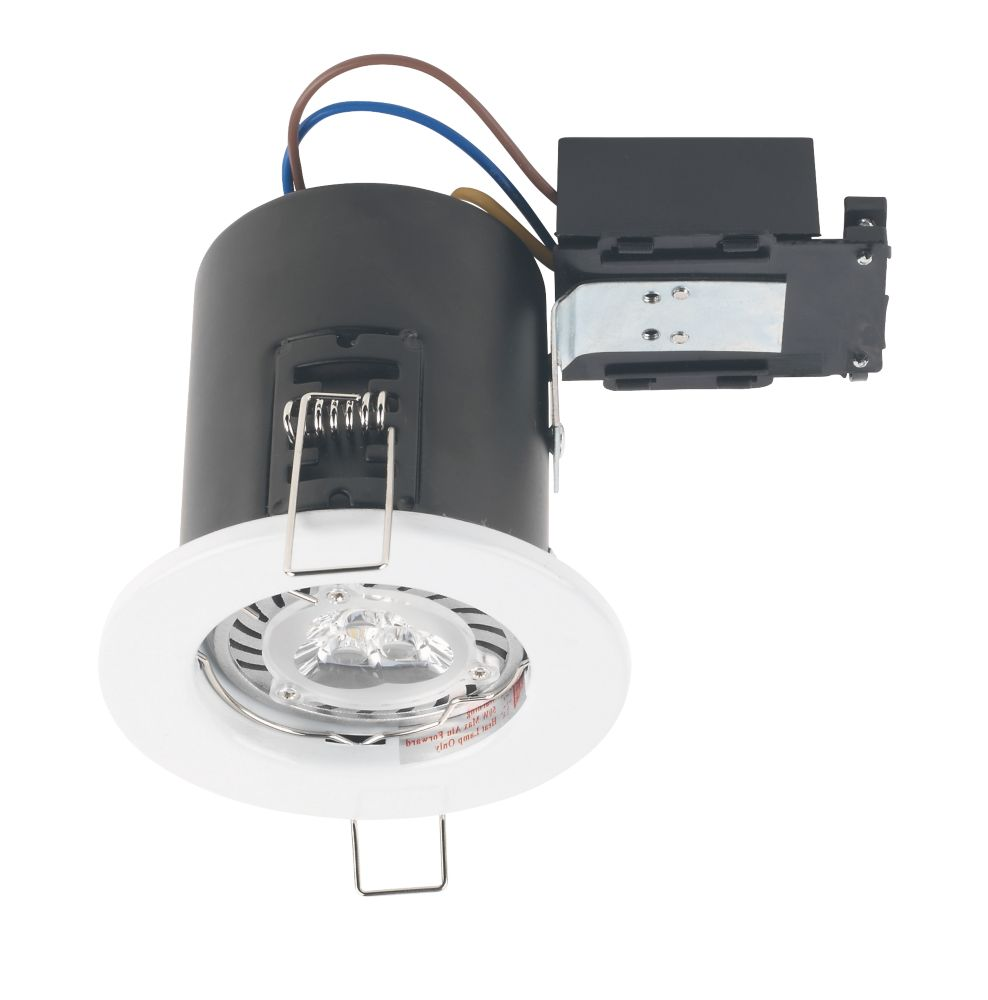 Robus Fire Rated Fixed Mains Voltage Downlight White 240V