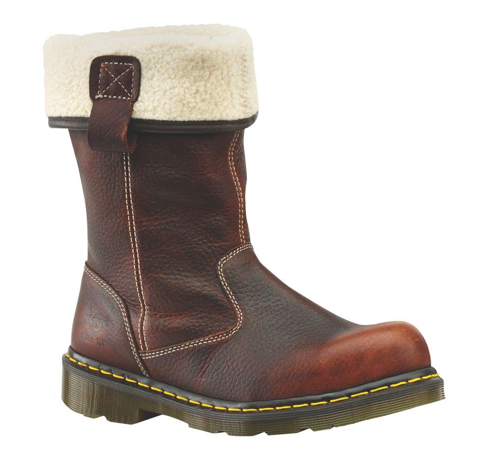 Dr. Martens Rosa Fur-Lined Ladies Rigger Safety Boots Teak Size 7