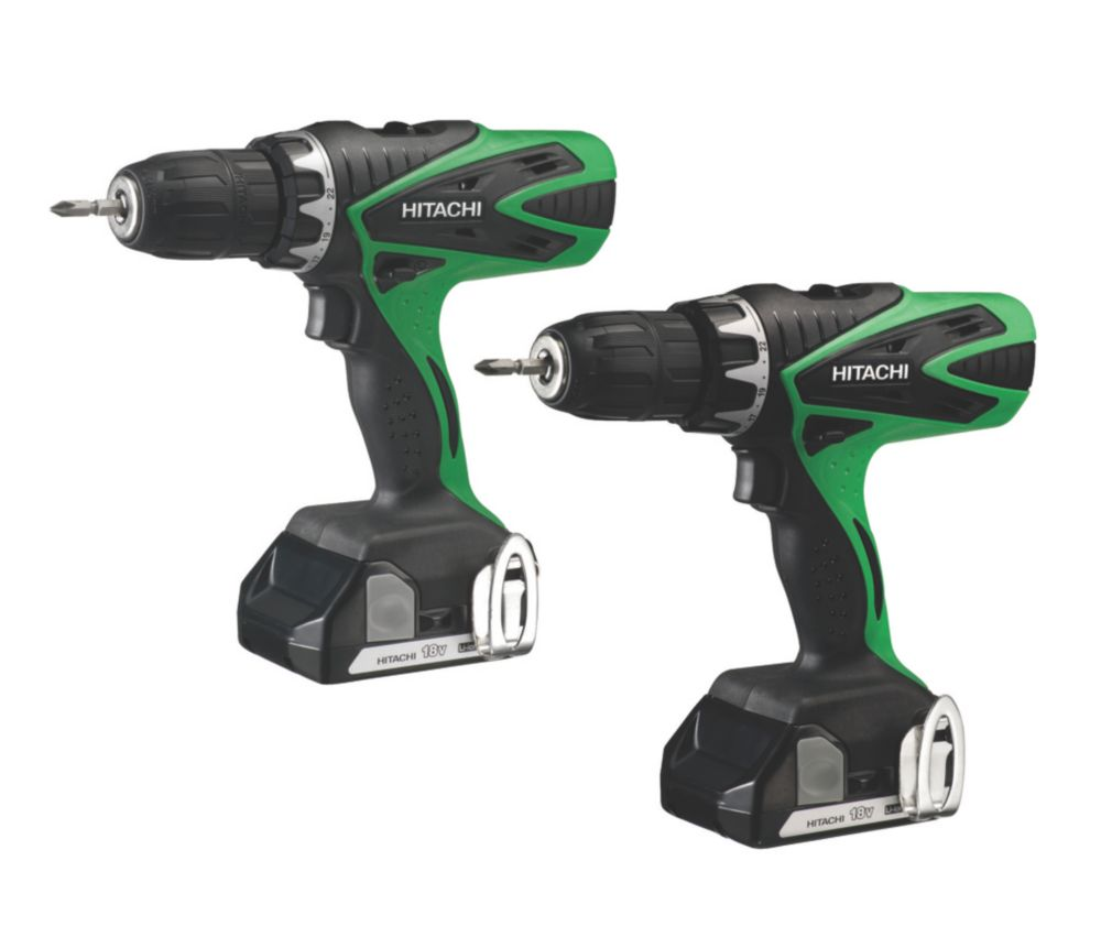 Hitachi KC18DFLS/JB 18V 1.5Ah Li-Ion Twin Pack Combi Drill & Drill Driver