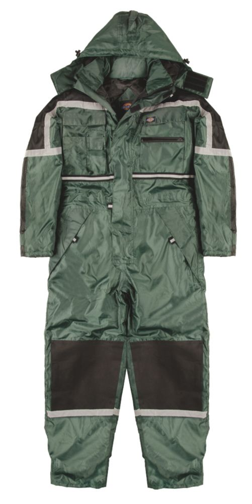 "Dickies Waterproof Padded Coverall Green Large 44-46"" Chest 32"" L"