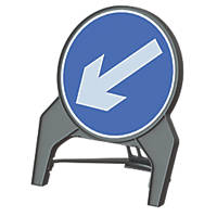 "Melba Swintex Q Sign Circular ""Arrow Left"" Traffic Sign 864 x 1072mm"