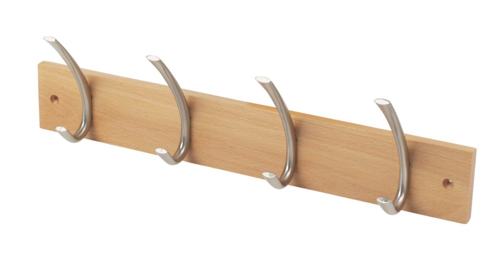 Headbourne Hat & Coat Hook Rail Beech 450 x 130mm
