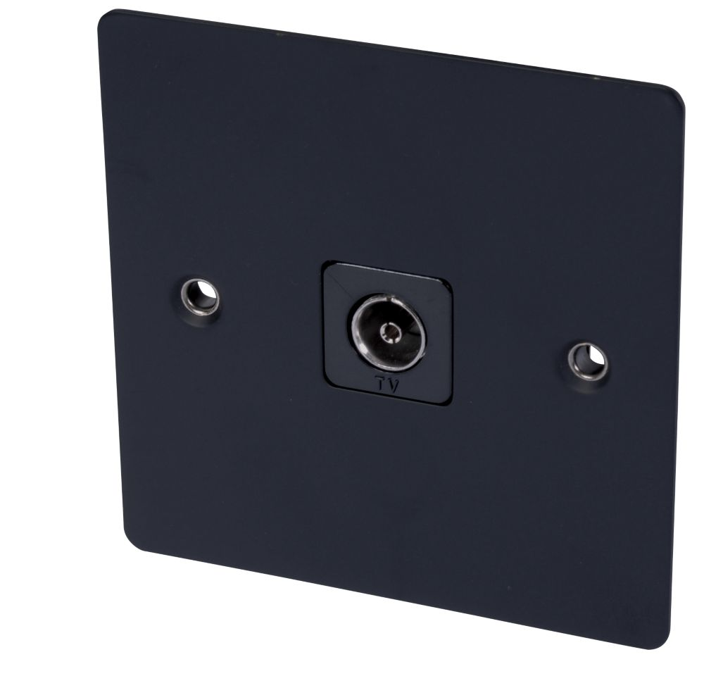Volex TV Socket Blk Ins Matt Black Flat Plate