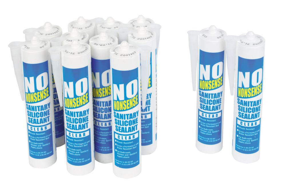 No Nonsense Sanitary Silicone Clear 310ml Pack of 12