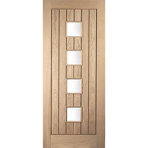Jeld Wen Whitehall 4 Light Glazed Exterior Door Oak Veneer Non Handed White O