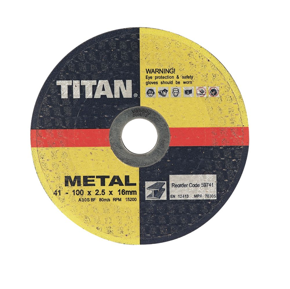 Titan Metal Cutting Disc 100 x 2.5 x 16mm Pack of 5