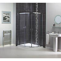 Aqualux  Offset Quadrant Shine Shower Enclosure LH/RH Silver 1200 x 900 x 1850mm