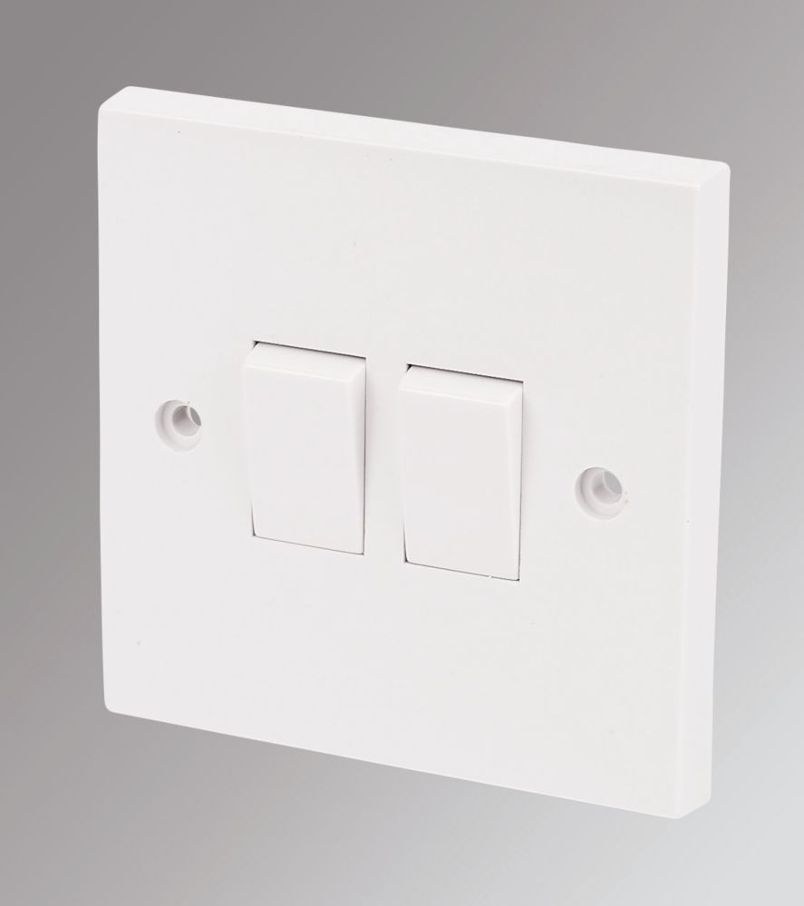 Marbo 2-Gang 2-Way 10AX Light Switch White