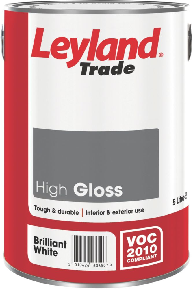 Leyland High Gloss Paint Brilliant White 5Ltr