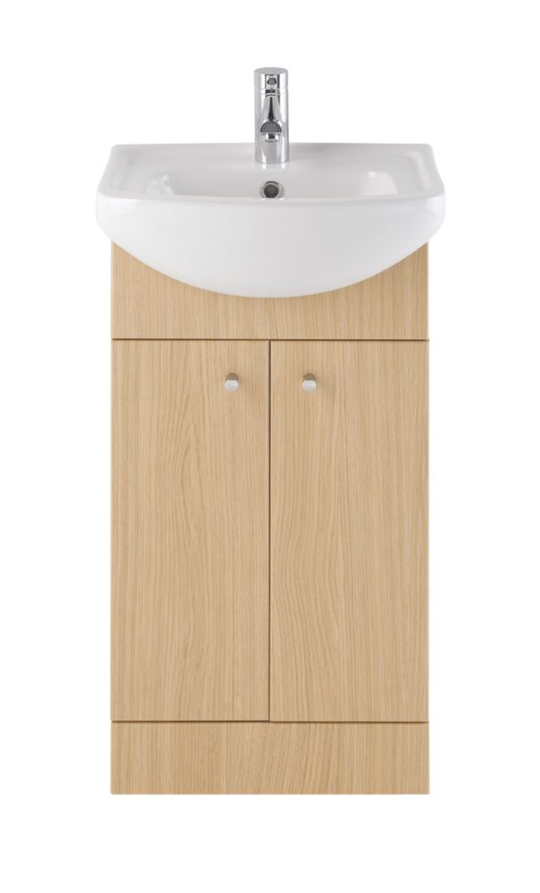 Vanity Bathroom Basin Unit Natural Oak 450mm
