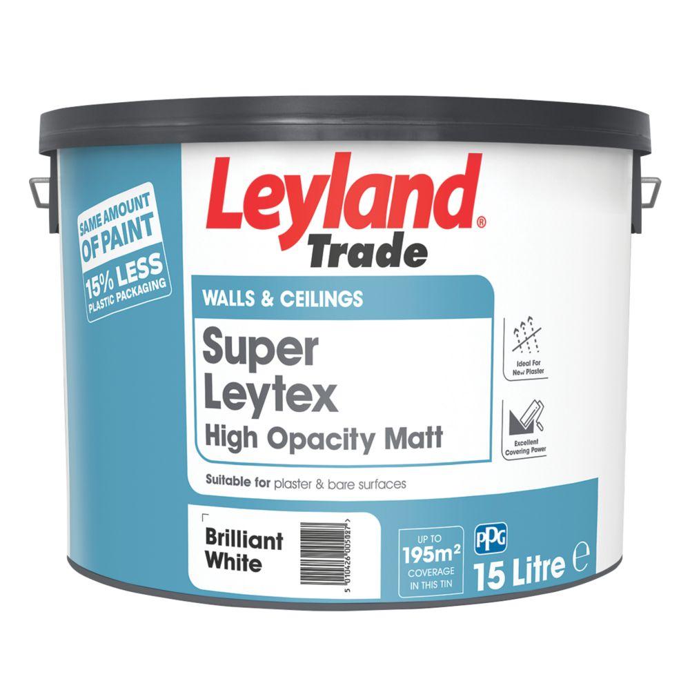 Leyland Super Leytex Matt Emulsion Paint Brilliant White 15Ltr