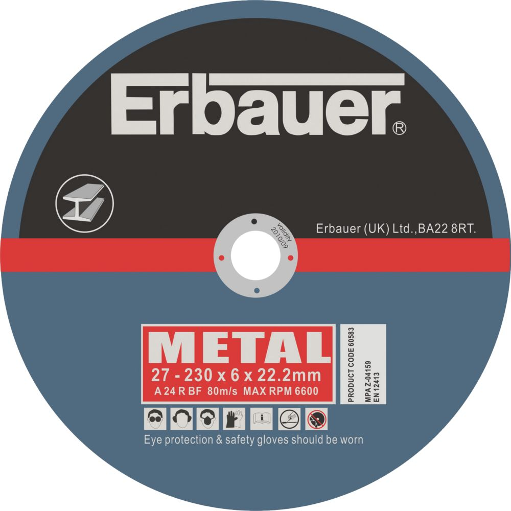 Erbauer Metal Grinding Disc 230 x 6 x 22.2mm Pack of 5