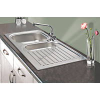 Franke 1½ Bowl Kitchen Sink with Tap & Drainer 18 / 10 Stainless Steel 965 x 500mm