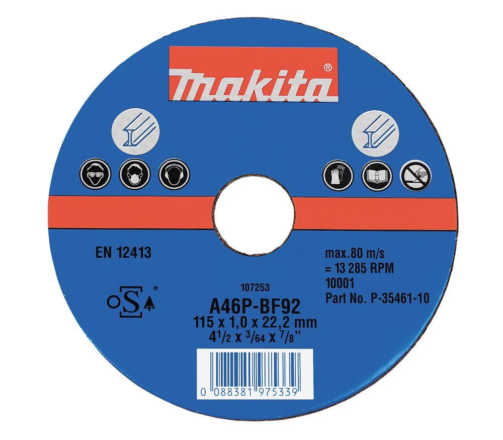 Makita Metal Cutting Discs 115 x 1 x 22.2mm Pack of 10