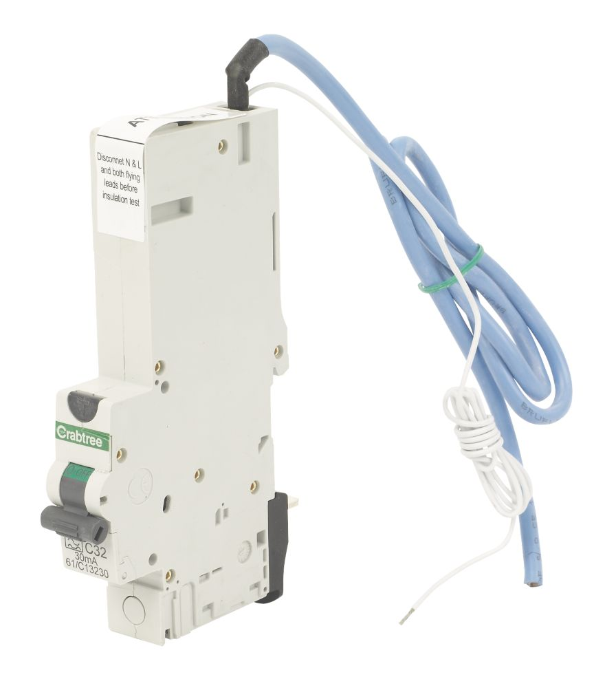 Crabtree 32A 30mA SP Type A Curve RCBO