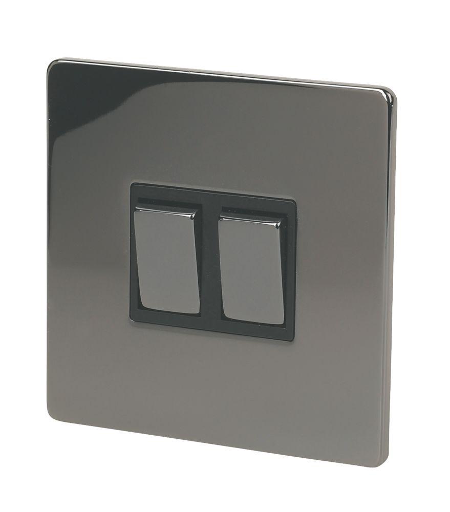 LAP 2-Gang 2-Way 10AX Light Switch Black Nickel