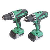 Hitachi KC18DGL/JB 18V 1.5Ah Li-Ion   Cordless Combi Drill & Drill Driver Twin Pack