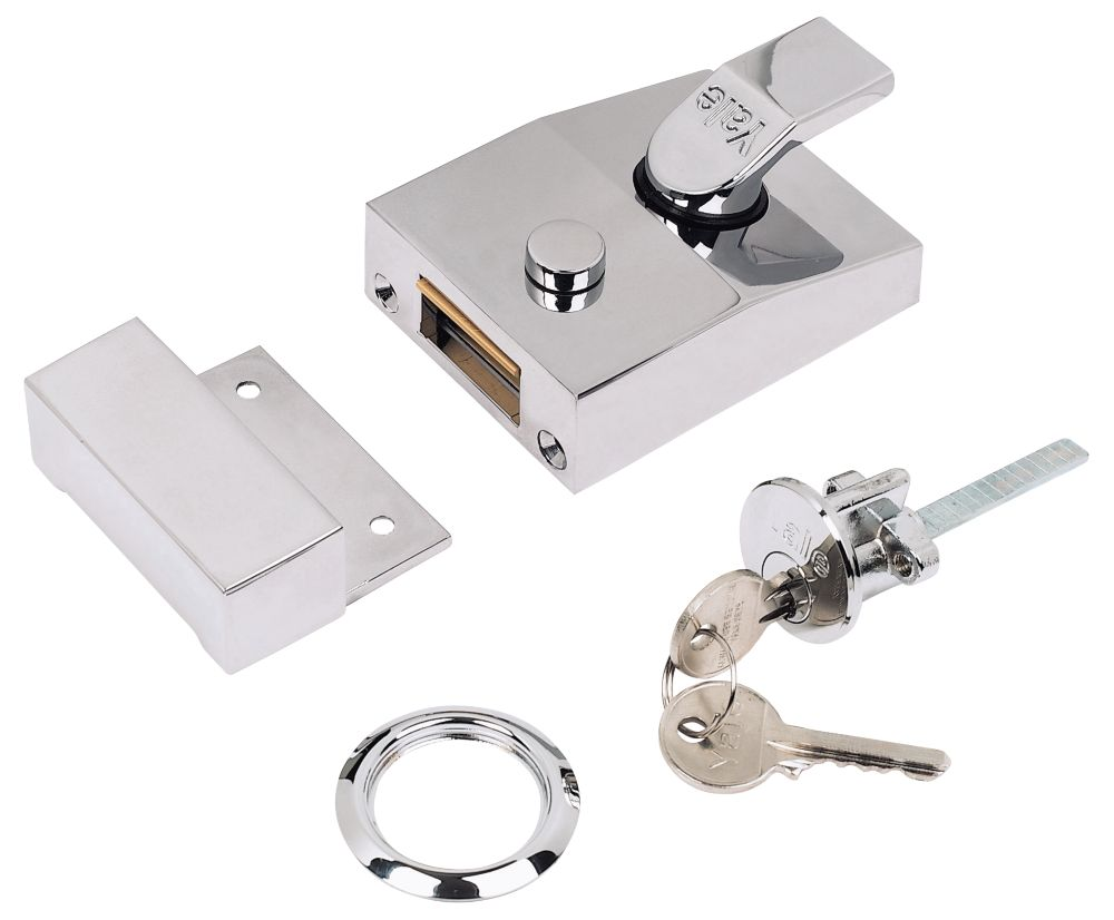 Yale Night Latch Polished Chrome 60mm Backset