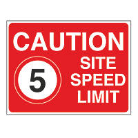 """Caution Site Speed Limit 5"" Sign 450 x 600mm"