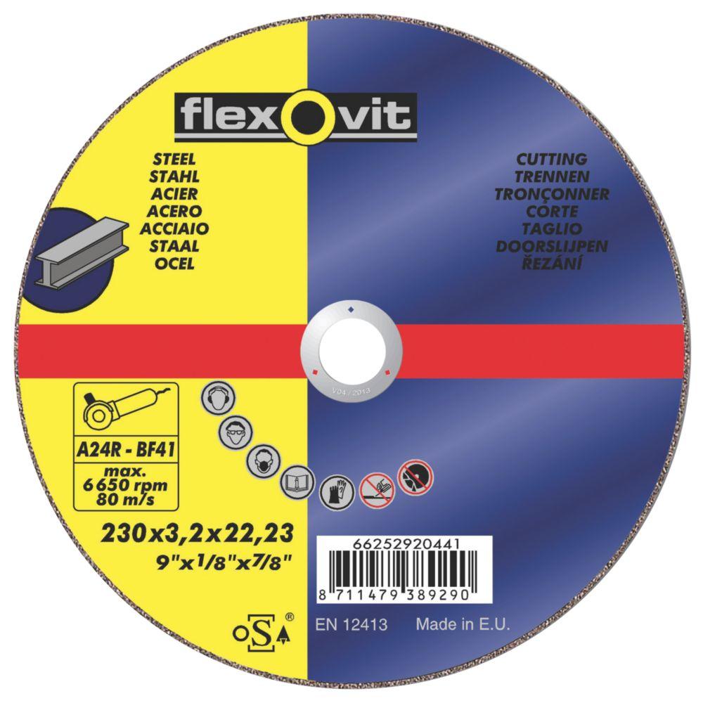 Flexovit Metal Cutting Discs 230 x 3.2 x 22.23mm Bore Pk of 5