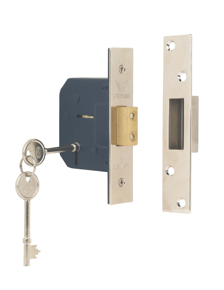 "Sterling 5-Lever Mortice Deadlock Satin Nickel 2½"" (64mm)"