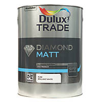 Dulux Trade Diamond Quick-Drying Matt Emulsion Paint Pure Brilliant White 5Ltr