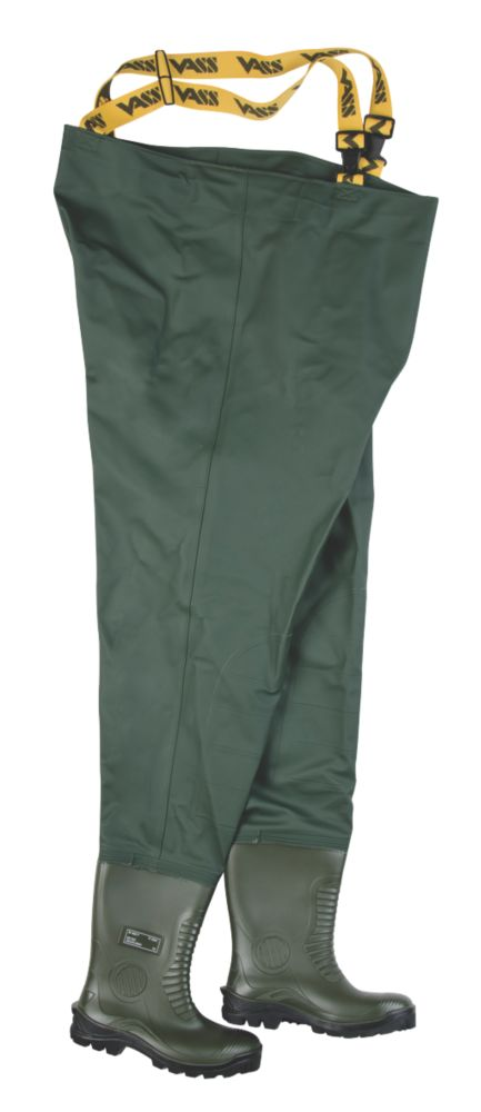 Vass-Tex 700 Waterproof Non-Studded Safety Chest Waders Green Size 10
