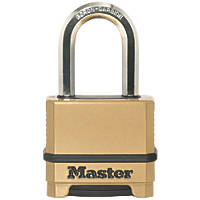 Master Lock Die-Cast Zinc Long Shackle 4-Digit Combination Padlock Brass 56mm