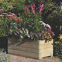 Rowlinson Rectangular Patio Planters Natural Timber 1000 x 500 x 390mm 2 Pack