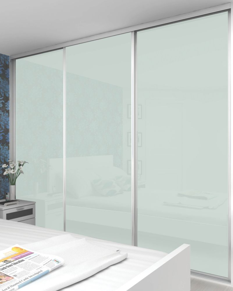 Sliding Wardrobe Doors White Frame White Glass Panel 3-Door 2672 x 2330mm