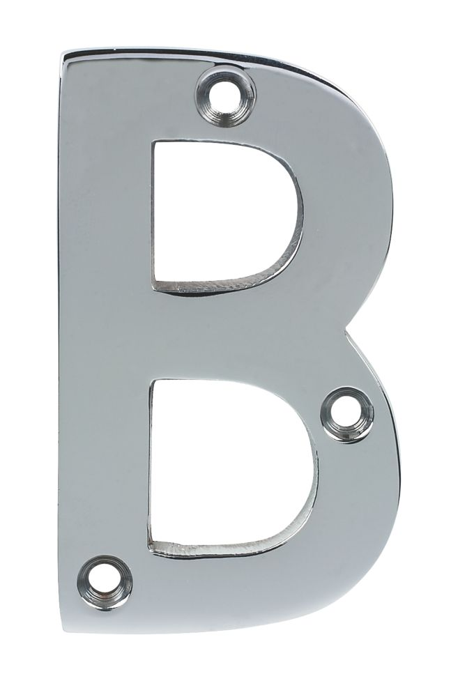 Door Letter B Polished Chrome 75mm