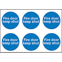 """Fire Door Keep Shut"" Adhesive Labels 100mm 100 x 100mm 30 Pack"