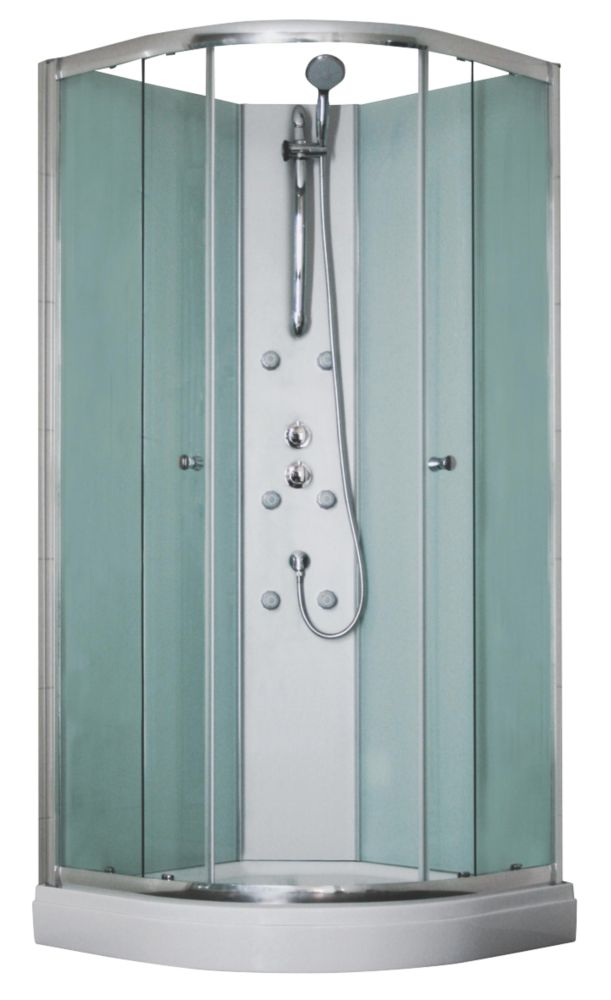 Aqualux Silver Slot & Lock Corner Quadrant Shower & Enclosure 900 x 2025mm