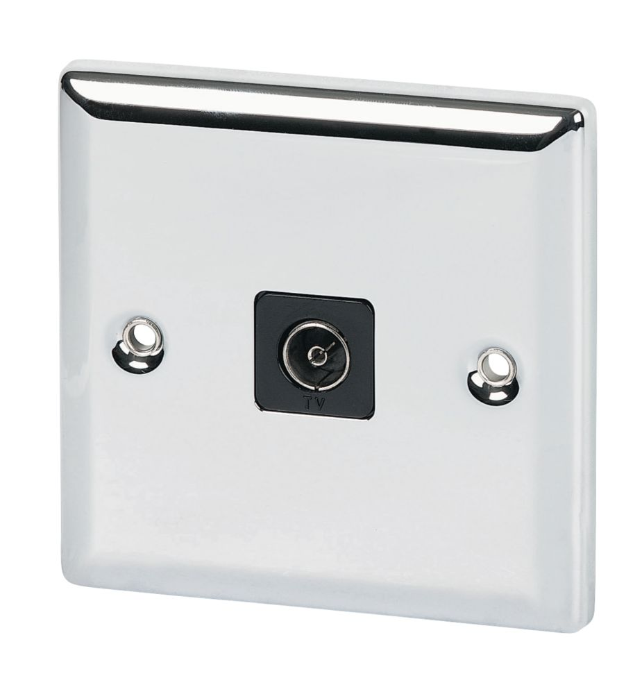 Volex TV Socket Blk Ins Polished Chrome Angled Edge
