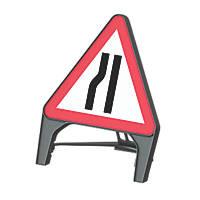 "Melba Swintex Q Sign Triangular ""Road Narrows Left"" Safety Sign 870 x 1220mm"